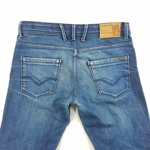 Replay Italy Straight Leg Buttonfly Denim Jean